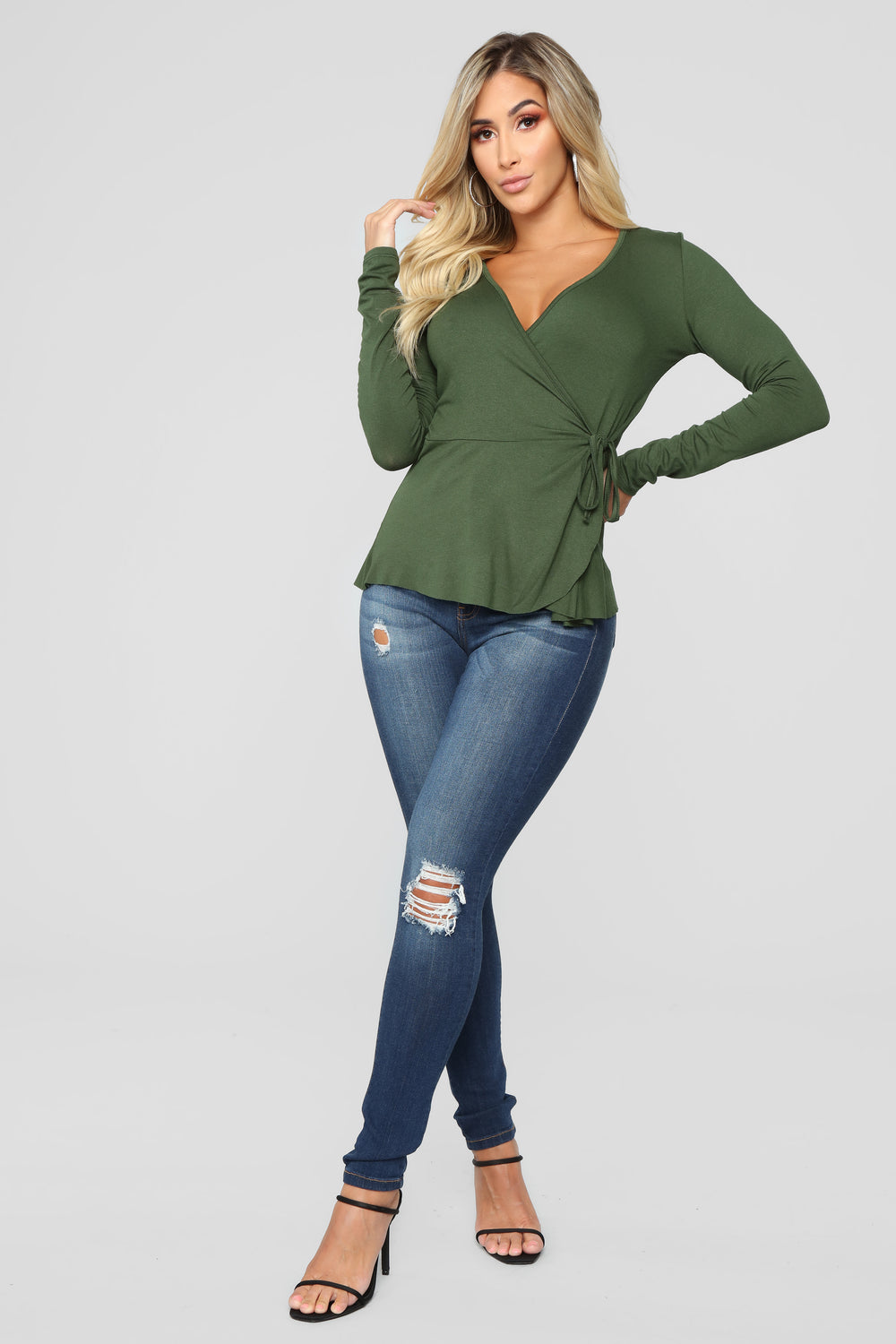 So Classic Long Sleeve Wrap Top - Olive