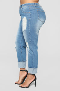 Eddie Boyfriend Jeans - Medium Wash Angle 10