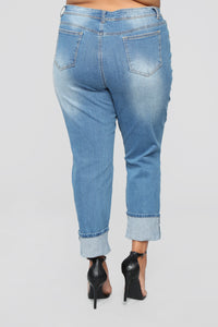 Eddie Boyfriend Jeans - Medium Wash Angle 12