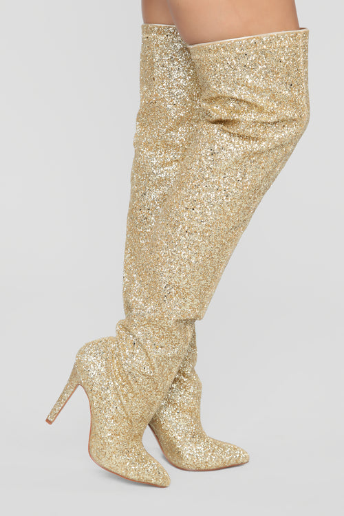 She Isn't Ready Heeled Boot - Gold