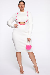 Keep Me Satisfied Midi Dress - Ivory/Combo Angle 1