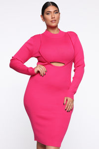 Keep Me Satisfied Midi Dress - Neon Pink