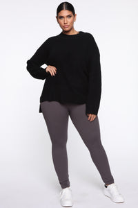 Snatch That Waist High Rise Legging - Charcoal Angle 1
