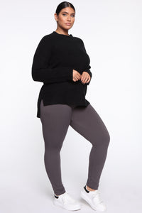 Snatch That Waist High Rise Legging - Charcoal Angle 3