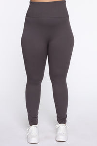 Snatch That Waist High Rise Legging - Charcoal Angle 4
