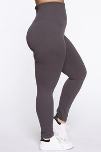 Snatch That Waist High Rise Legging - Charcoal Angle 2