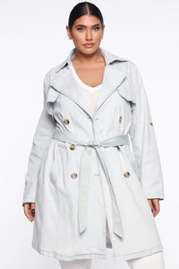 So Charming Trench Coat - Light Wash