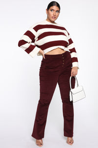 Take Me Out Corduroy Flare Pants - Burgundy Angle 12