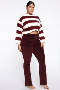 Take Me Out Corduroy Flare Pants - Burgundy Angle 8