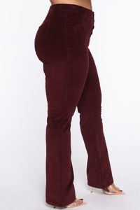 Take Me Out Corduroy Flare Pants - Burgundy Angle 13