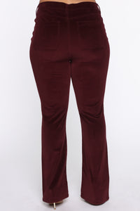 Take Me Out Corduroy Flare Pants - Burgundy Angle 11