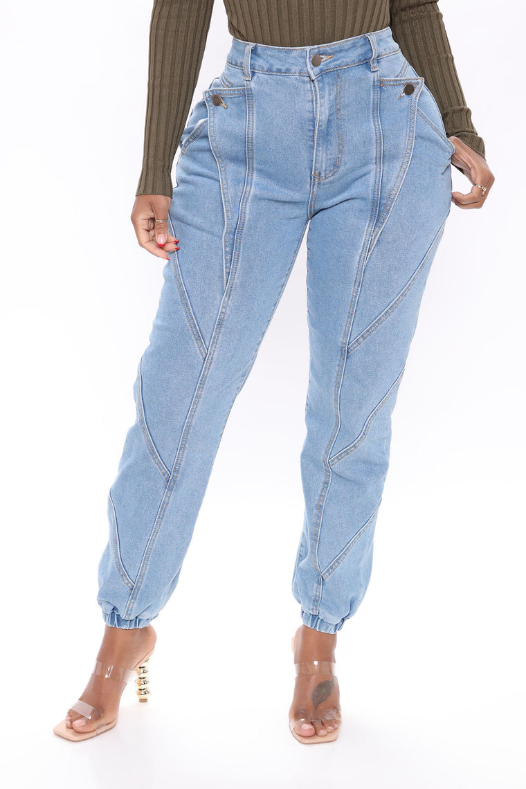 A Beautiful Liar Denim Joggers - Light Blue Wash