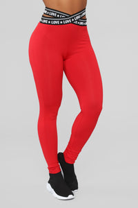 Love Is Tough Lounge Leggings - Red