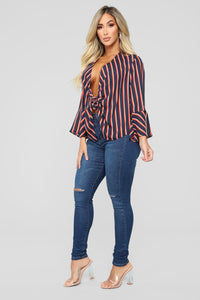 Cassie Stripe Tie Front Blouse - Navy/combo