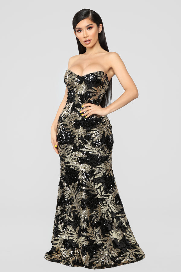 88dbdabaa027 In A Golden Forest Dress - Black Gold
