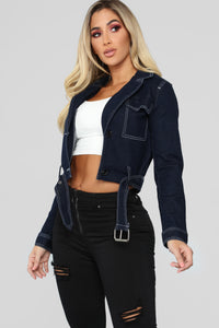 Living My Life Denim Jacket - Dark Wash