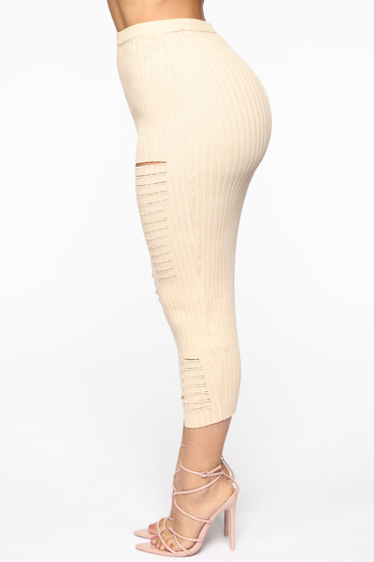 Tear It Up Skirt Set - Beige