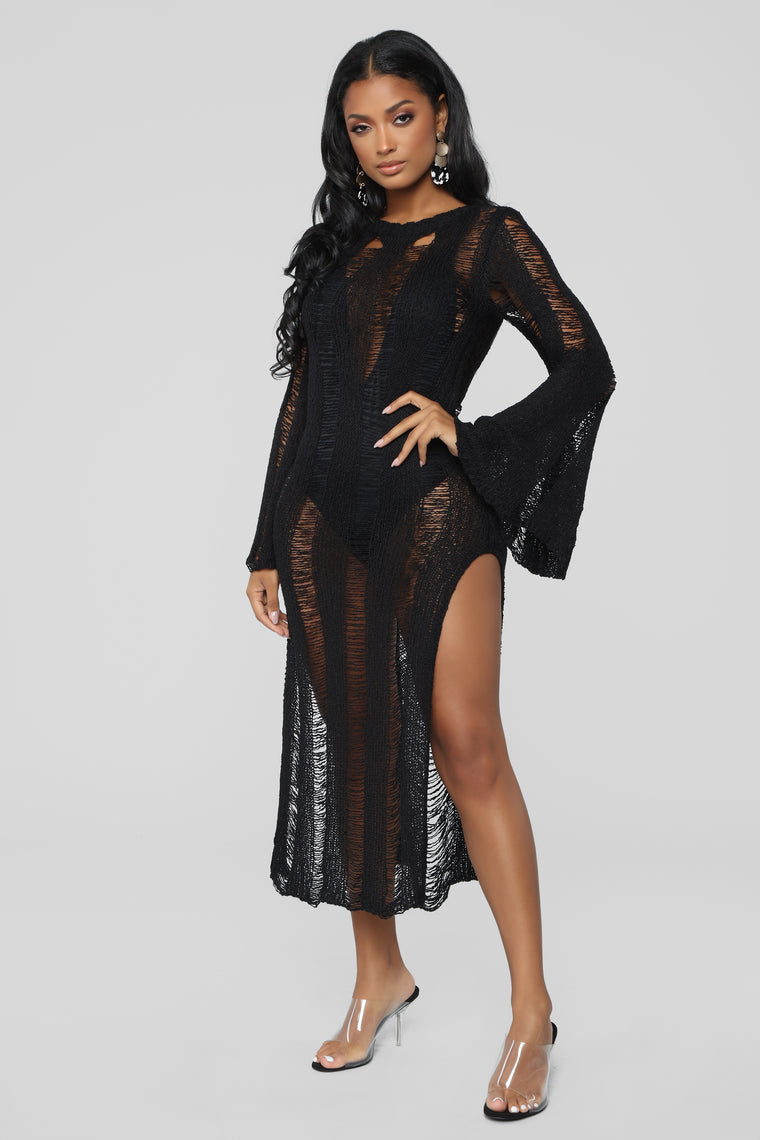 Venice Date Coverup Dress - Black