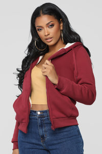 Cozy As You Can Be Lounge Hoodie - Burgundy