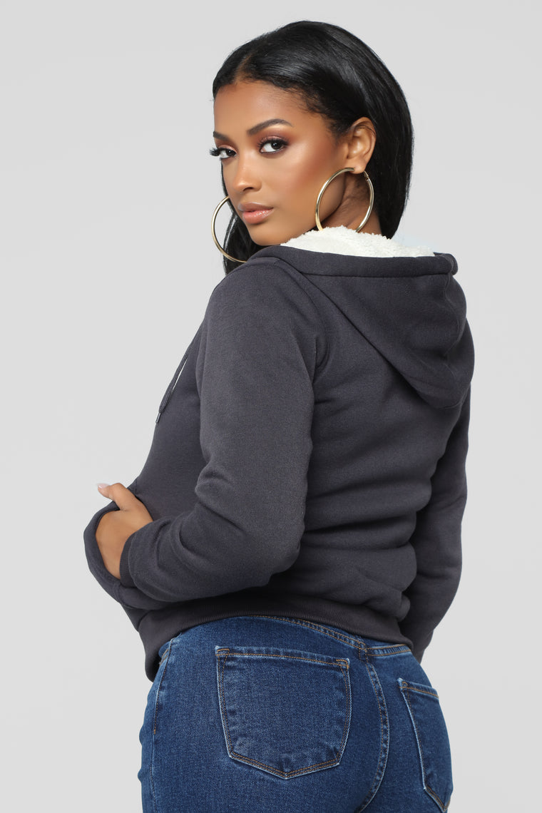 Cozy As You Can Be Lounge Hoodie - Charcoal