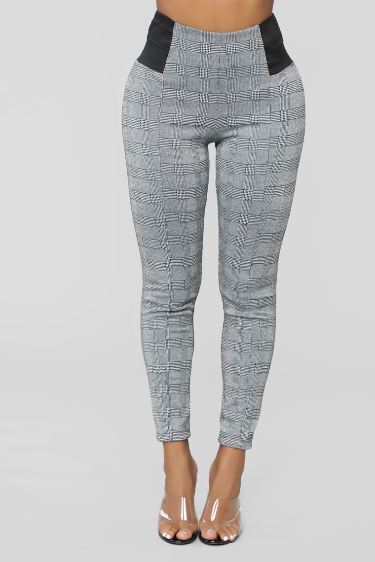 Plaid Them Ponte Pants - Black