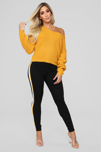 Criss Cross Lace Up Sweater - Mustard Angle 2