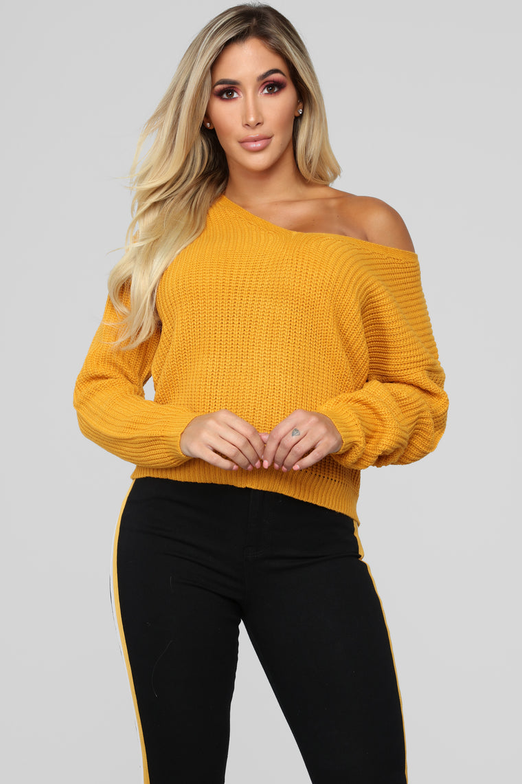 Criss Cross Lace Up Sweater - Mustard
