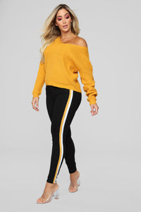 Criss Cross Lace Up Sweater - Mustard Angle 3
