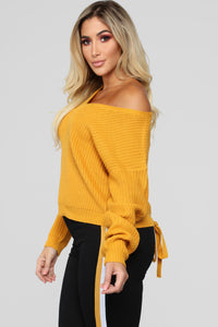 Criss Cross Lace Up Sweater - Mustard Angle 4