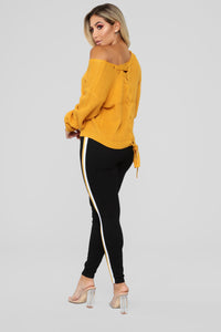 Criss Cross Lace Up Sweater - Mustard Angle 5