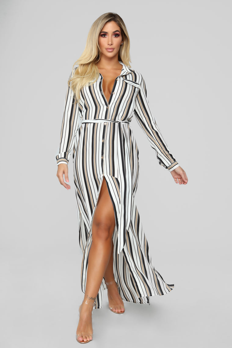So Long Striped Dress - Taupe/Multi