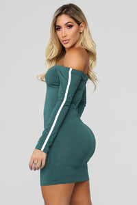 Happy Without You Off Shoulder Dress - Hunter Green