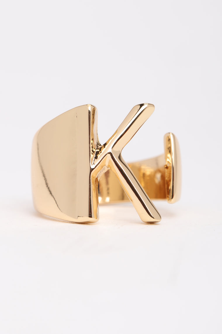 "Initial Here ""K"" Ring - Gold"