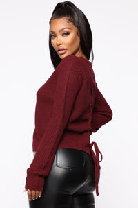Lilly Lace Up Sweater - Burgundy