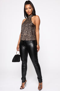 Amur Leopard Halter Top - Brown/combo