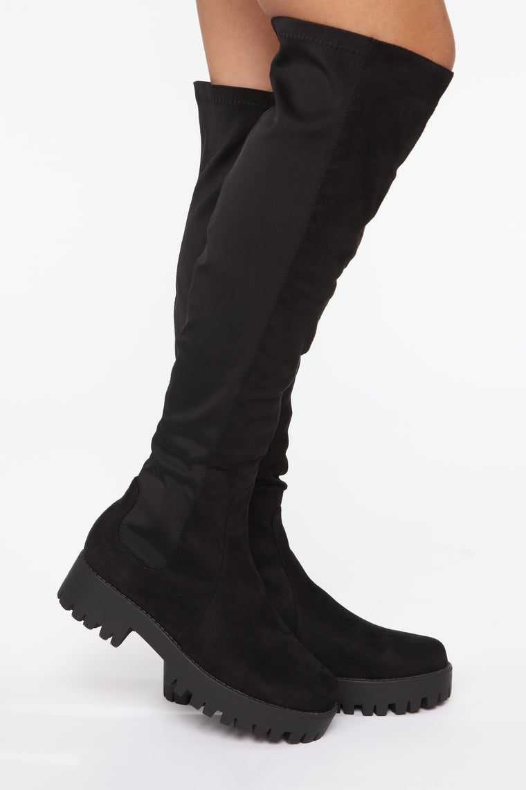 On The Move Flat Boots - Black