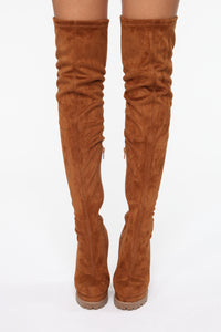 Can't You See Heeled Boots - Tan Angle 2