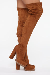 Can't You See Heeled Boots - Tan Angle 1