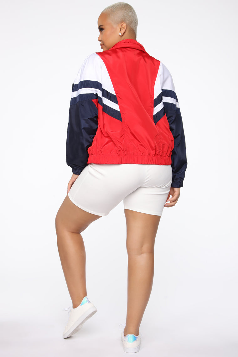 Back To Back Windbreaker Jacket - Red/Combo