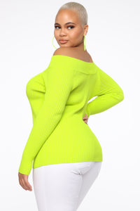 Saige Off Shoulder Sweater - Neon Lime Angle 3