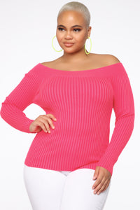 Saige Off Shoulder Sweater - Neon Pink Angle 1