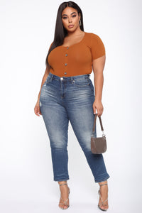 Need A New High Rise Mom Jeans - Dark Denim Angle 10