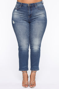 Need A New High Rise Mom Jeans - Dark Denim Angle 8