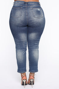 Need A New High Rise Mom Jeans - Dark Denim Angle 9