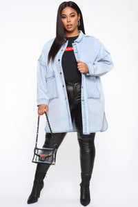 Ex Boyfriend Oversized Denim Jacket - Acid Wash Angle 7