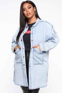Ex Boyfriend Oversized Denim Jacket - Acid Wash Angle 6