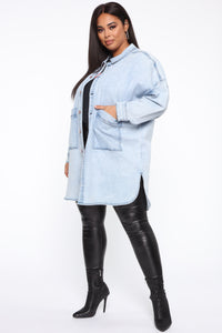 Ex Boyfriend Oversized Denim Jacket - Acid Wash Angle 9
