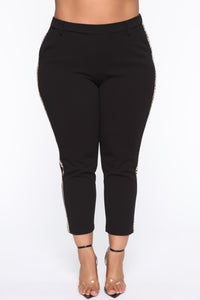 Armanda Contrast Side Pants - Black/Brown Angle 11