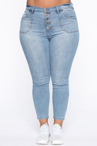 Nequita High Rise Skinny Jeans - Light Blue Wash