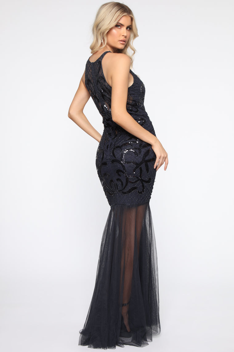 High Class Society Embellished Maxi Gown - Navy